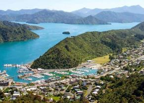 Aerial view of Picton, New Zealand