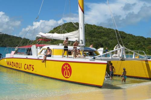 guests hangout on docked catamaran