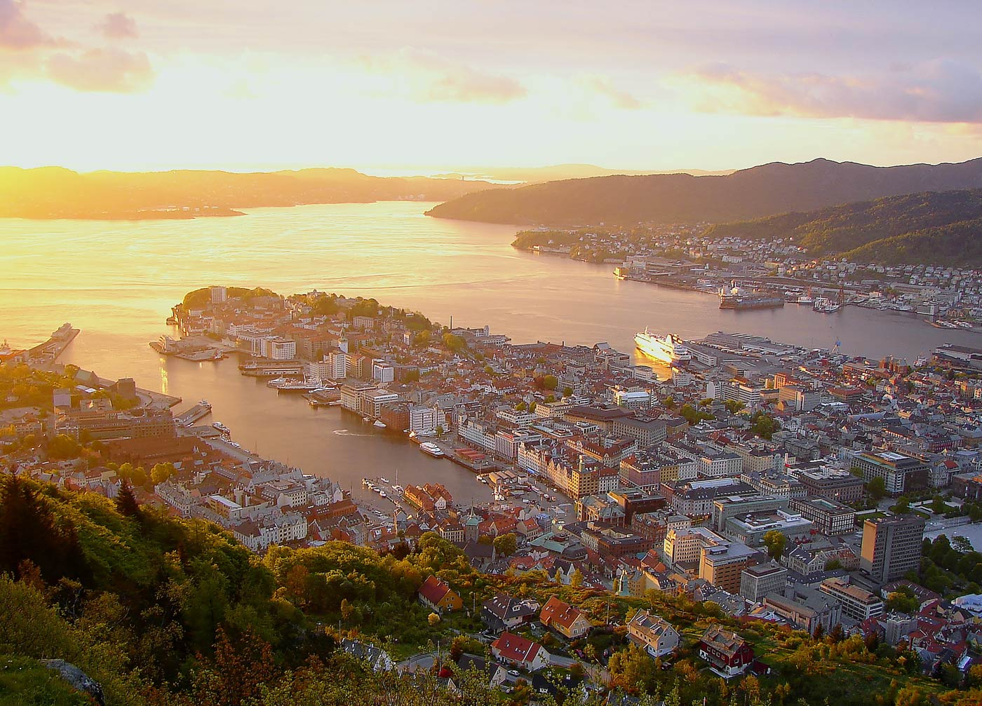 aerial view of beautiful bergen at sunset