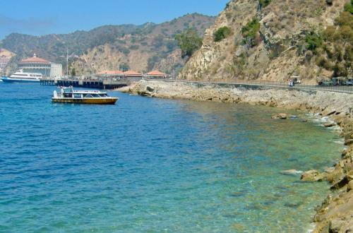 beautiful view of a boat floating near the shore in catalina