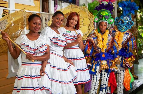 traditional carnaval dancers after a presentation