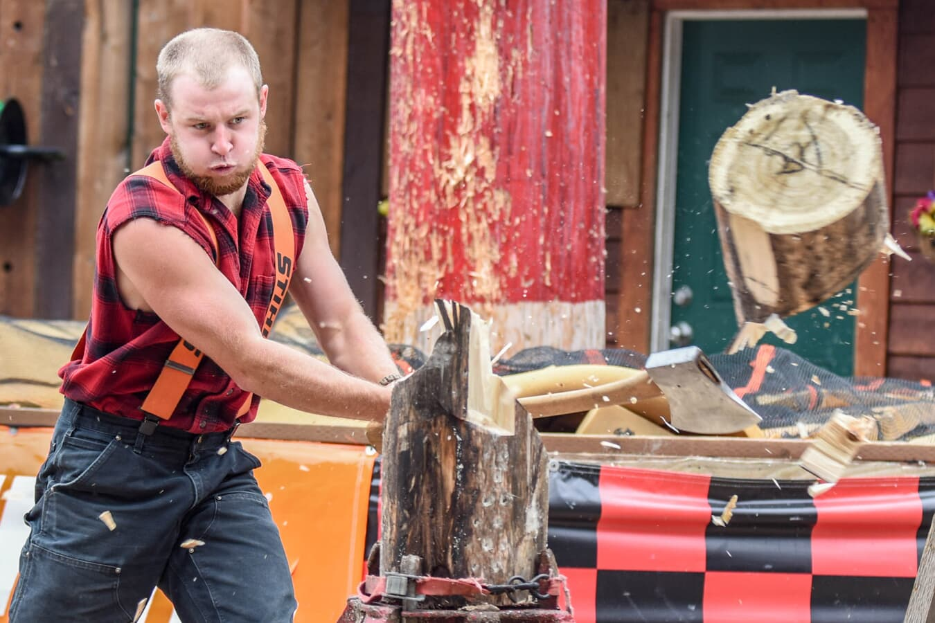 lumberjack cutting down a stump