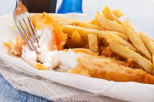 delicious fish and chips on a plate