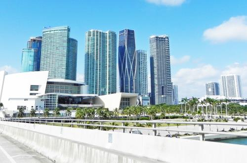 miami skyline seen from a bridge