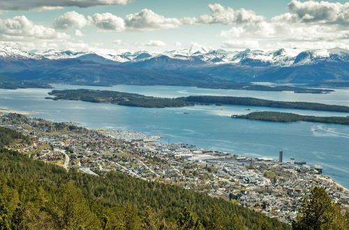 aerial view of molde shows beautiful islands and mountains in the background