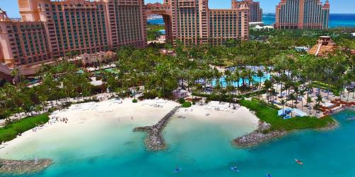 aerial view of atlantis resort and relaxing beach front area
