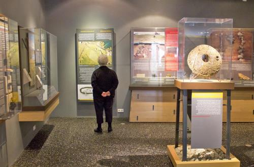 a guest stands in front of an exhibition at a museum
