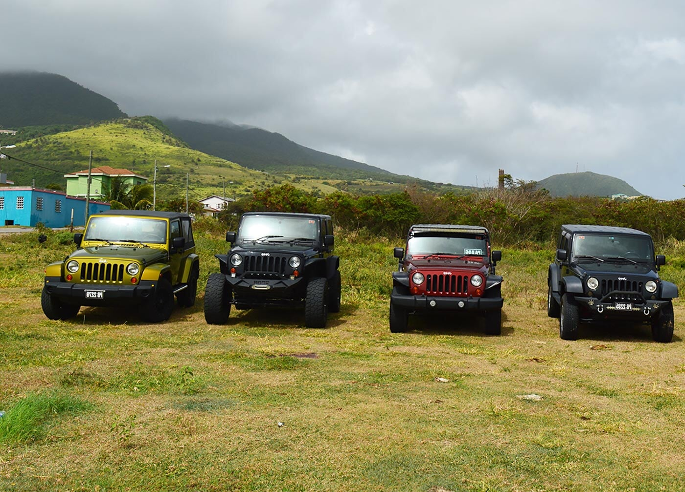 a fleet of jeeps parked in front of a scenic mountainous background