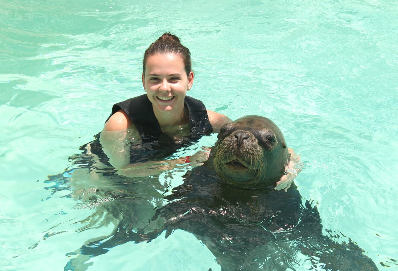 woman swimming with sea lion
