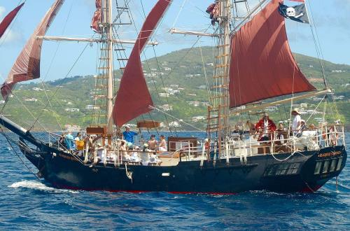 pirate schooner sailing the open seas of st.thomas