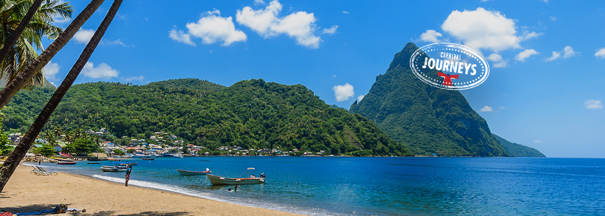 view of soufriere bay and mountains in st. lucia