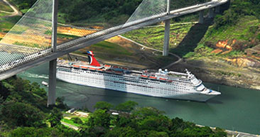 aerial view of carnival ship passing through panama canal
