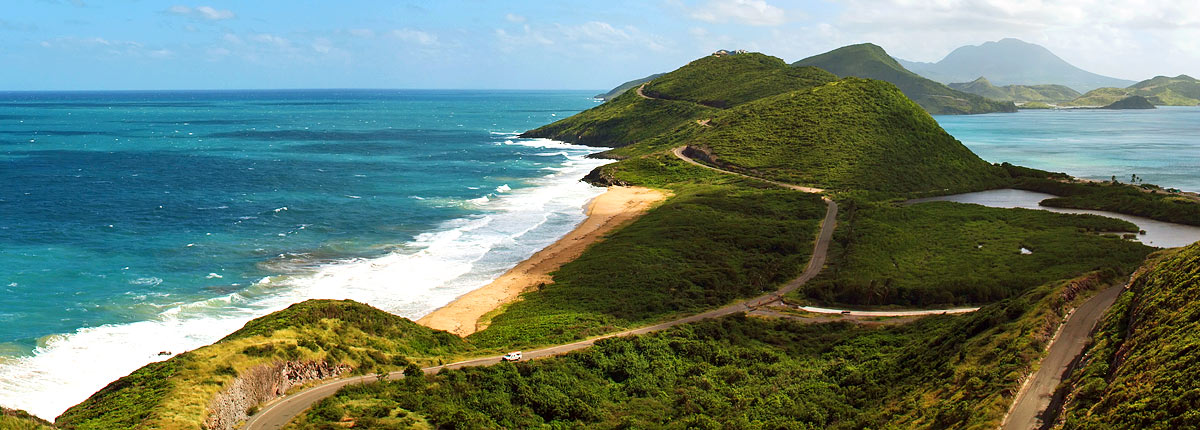 incredible hilltop view of the st. kitts coastline