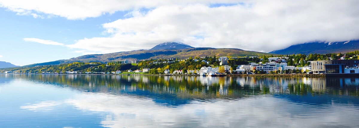 landscape of the town from the lake akureyri in iceland