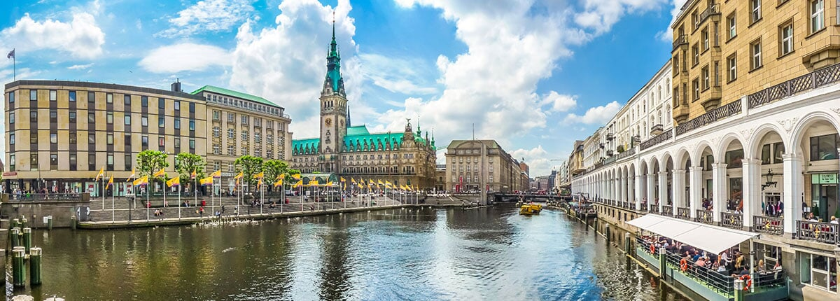 hamburg city center with town hall and alster river in germany