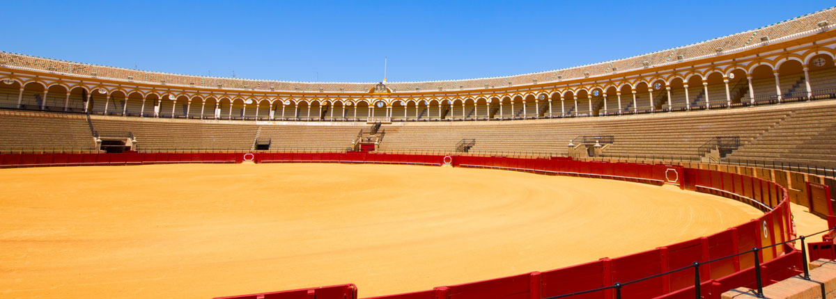 the interior of a bullfighting ring in Spain.
