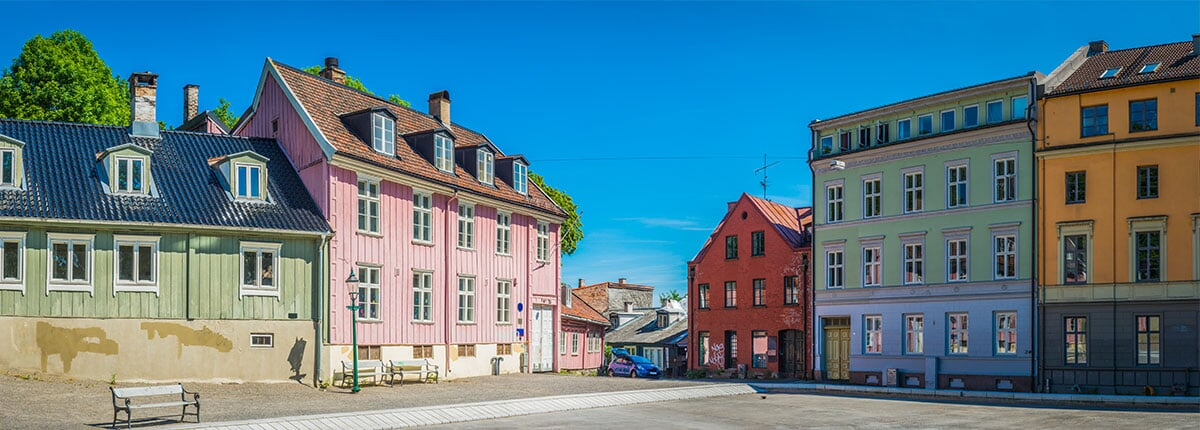 colourful townhouses villas in oslo, norway