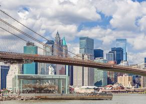 view of the brooklyn bridge and city skyline